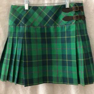 Lilly Pulitzer Green Plaid Kilt/Mini Skirt Size 2